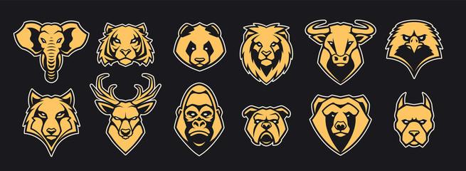 Animals Head Mascot Icons Vector Set