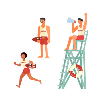 Set of male and female lifeguards