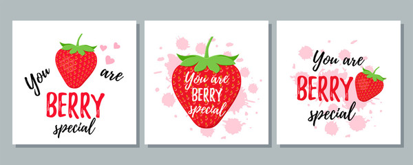 You are berry special. Vector. Quote with strawberry. Funny strawberry slogan. Cute font design. Love pun. It can be used for t-shirt, card print, poster, mug, phone case. Saying on white background