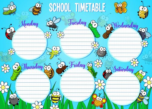 School timetable with cartoon bugs and insects