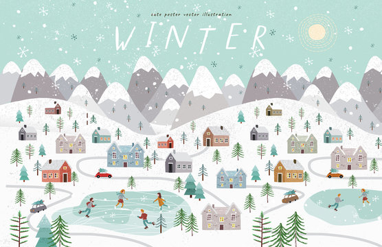 Winter. Cute vector illustration of the Christmas, New Year winter landscape with houses, mountains, people, trees and a skating rink. Top vieц
