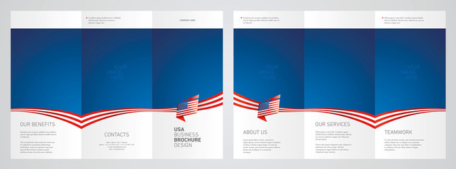 Wavy flag and ribbon of USA three fold brochure modern design blue abstract background
