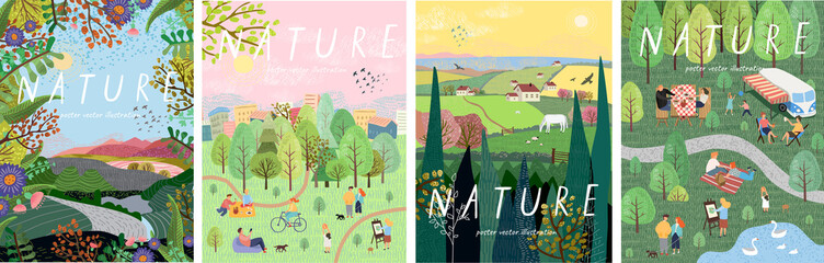 Nature. Cute vector illustration of landscape natural background, village, people on vacation in the park at a picnic, forest and trees. Drawings from the hand of summer and spring Fotomurales