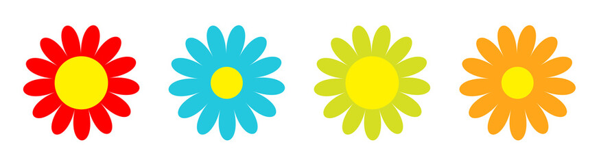 Colorful daisy chamomile icon set line. Cute flower plant collection. Cute cartoon funny decoration element. Love card. Camomile icon. Growing concept. Flat design White background