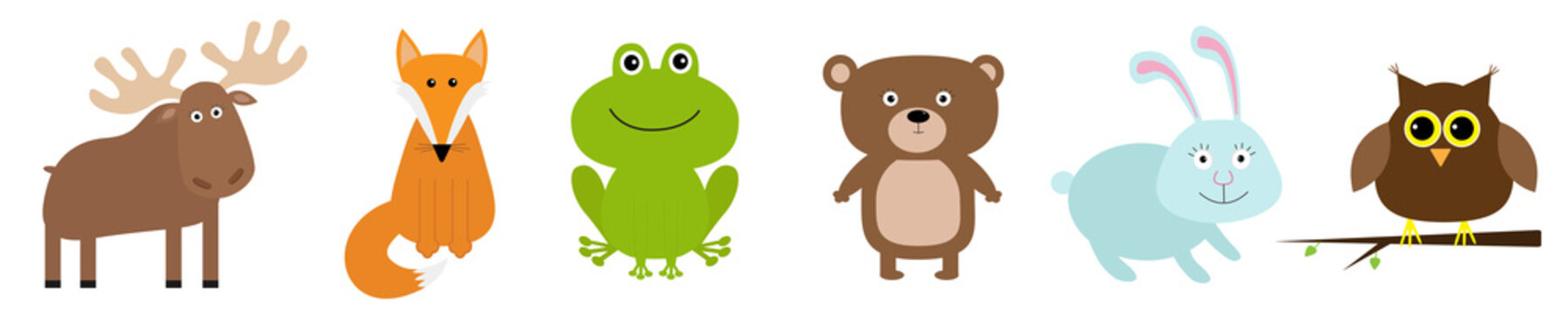 Forest animal set line. Bear hare rabbit fox moose owl frog icon. Kids education cards. Flat design. Cute kawaii cartoon funny baby character. White background. Isolated.