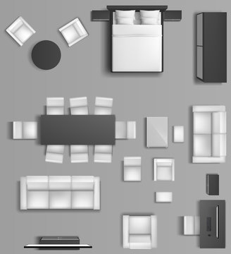 Home interior top view. Modern apartment accommodation of living room and bedroom with furniture. Sofa, tv, bed, armchairs, dining table monochrome visualization plan. Realistic 3d vector illustration