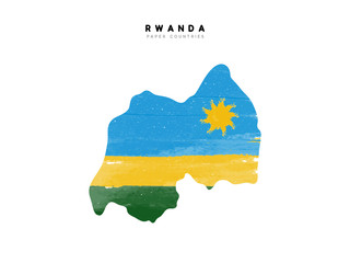 Rwanda detailed map with flag of country. Painted in watercolor paint colors in the national flag