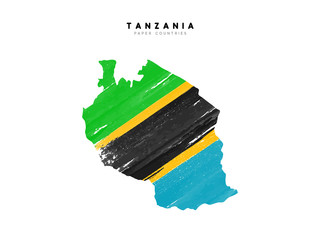 Tanzania detailed map with flag of country. Painted in watercolor paint colors in the national flag