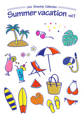 Summer vacation 1 -Line Drawing Collection (color)