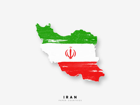 Iran detailed map with flag of country. Painted in watercolor paint colors in the national flag