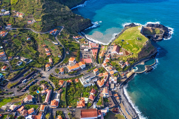 Fototapete - Beautiful mountain landscape of Madeira island, Portugal. Aerial view. 4K drone footage.