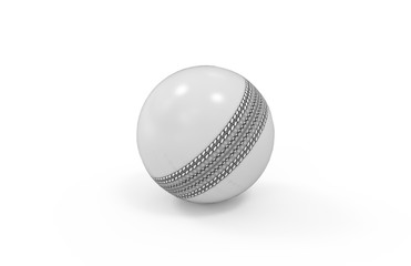 White shiny cricket ball for one day international match on isolated white background, 3d illustration
