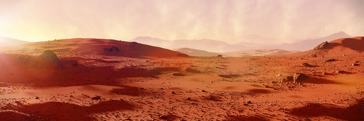 landscape on planet Mars, scenic desert on the red planet (3d space rendering banner)