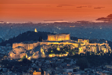 Printed roller blinds Athens Athens skyline and the Acropolis hill with Parthenon, from the Mt Lykavitos, Athens, Greece
