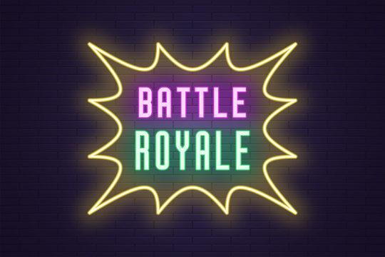 Neon composition of headline Battle Royale. Text