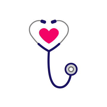 Simple stethoscope icon with heart shape. Health and medicine symbol. Isolated on white background. Vector illustration in flat style.