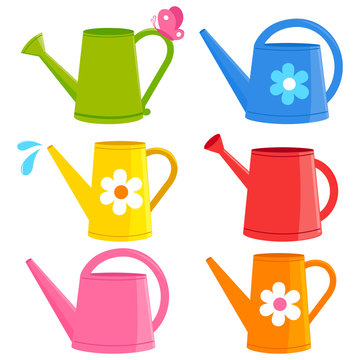 Colorful watering cans. Vector illustration collection.