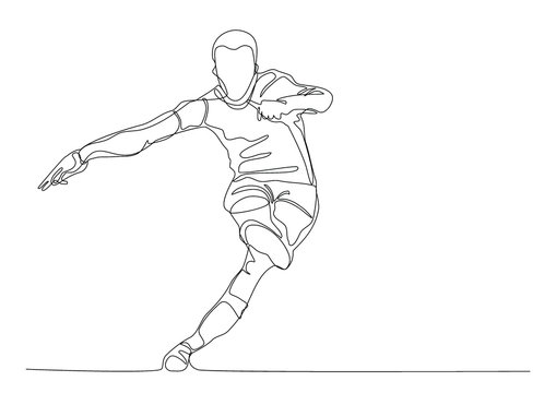 Draw a continuous line of football player kicks the ball