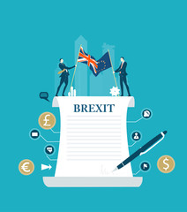 Brexit concept illustration. Signing the Brexit, future perspectives