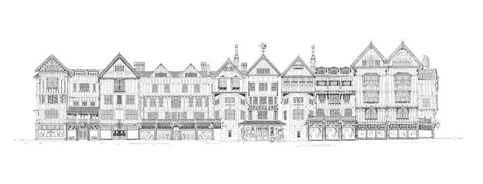 The Liberty house detailed illustration. English architecture of 19 the century. Department store in London, UK. Sketch collection.