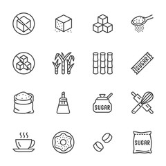 Sugar cane, cube flat line icons set. Sweetener, stevia, bakery products vector illustrations. Outline signs for sugarless food. Pixel perfect 64x64. Editable Strokes
