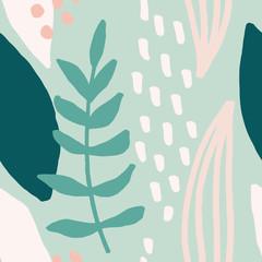 Fototapete - Seamless Abstract Foliage Pattern