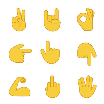Hand gesture emojis color icons set