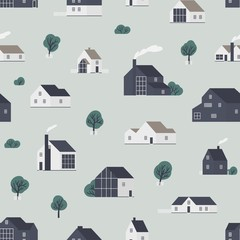 Fototapete - Seamless pattern with wooden country houses, town cottages, dwelling in Scandic style. Backdrop with suburban residential buildings. Flat vector illustration for wrapping paper, textile print.