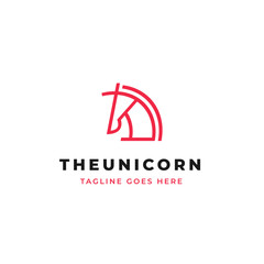 Unicorn head line art logo design. simple horse head with horn outline icon.