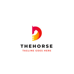 creative horse head vector logo design with letter D symbol icon design.