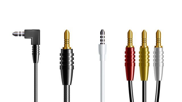 Realistic Audio Connector Headphone Plug Vector. Adapter Wire Electronic Speaker And Headphone Joint Communicate Smartphone Top View Isolated Image On White Background. 3d Illustration