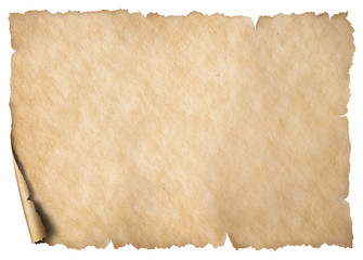 Old worn paper or map sheet isolated on white