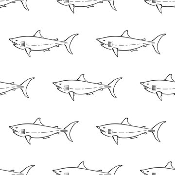 White shark character abstract hand drawn vector seamless pattern. Simplified retro illustration. Ocean blue. Sea animal curve paint sign. Doodle sketch. Element for design, wallpaper, fabric print.