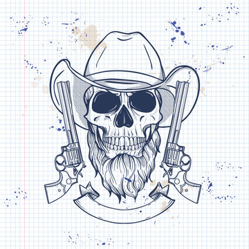 Sketch, skull with cowboy hat, revolver and beard on a notebook page