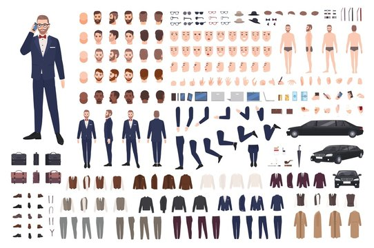 Stylish man dressed in elegant suit creation set or DIY kit. Collection of body parts, clothes, faces, postures, accessories. Male cartoon character. Front, side, back views. Flat vector illustration.