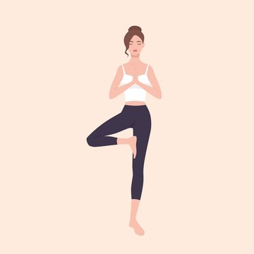 Gorgeous woman practicing Hatha yoga and zen meditation. Pretty female cartoon character standing in Tree pose and meditating. Slim yogi girl isolated on light background. Flat vector illustration.