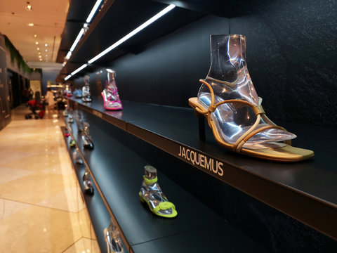French fashion designer Jacquemus' shoes are seen on display at the Dubai Mall in Dubai