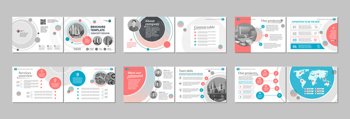 Brochure creative design. Multipurpose template, include cover, back and inside pages. Trendy minimalist flat geometric design. Horizontal landscape a4 format.
