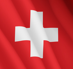Graphic illustration of a flying Swiss flag