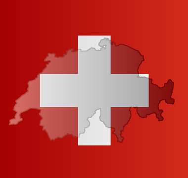 Graphic illustration of a Swiss flag with a contour of its borders