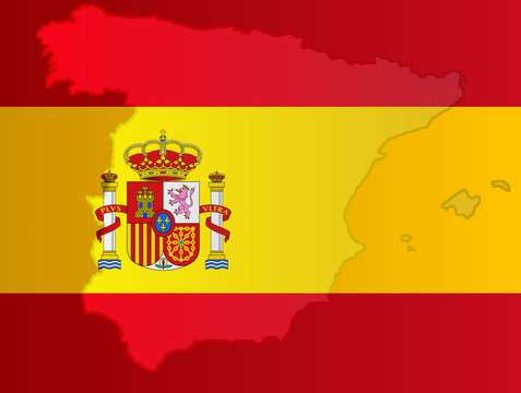 Graphic illustration of a Spanish flag with a contour of its borders