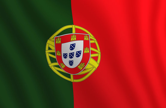 Graphic illustration of a flying Portugal flag enlightened from right