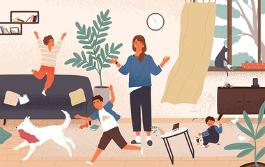 Calm mom and naughty mischievous children running around her. Mother surrounded by kids trying to keep equanimity, composure and calmness. Modern parenting. Flat cartoon colorful vector illustration.