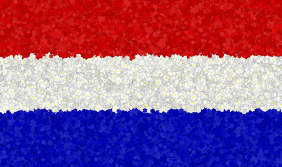 Graphic illustration of a of a Dutch flag with a flower pattern