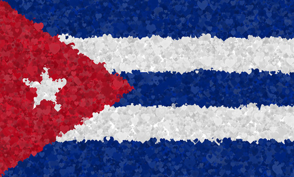Graphic illustration of a Cuban flag with a heart pattern