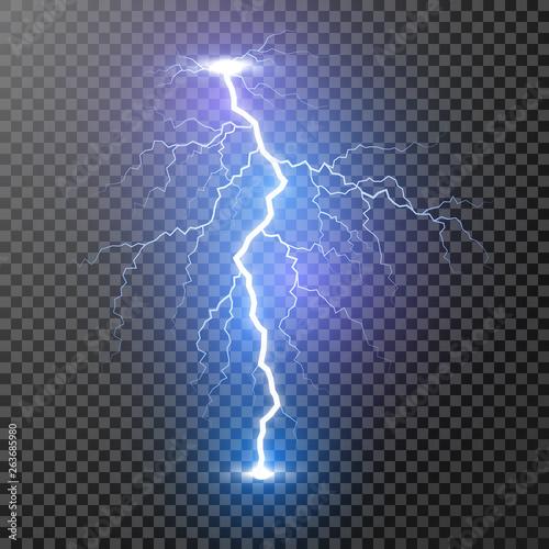 Storm lightning bolt  Vector illustration isolated on transparent