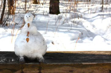 Funny snowman melted in the forest on a bench