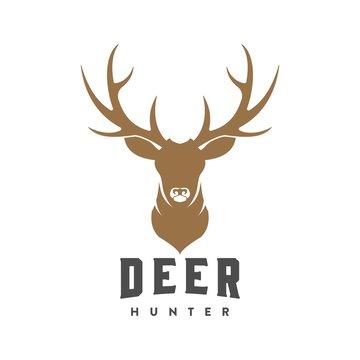 vintage deer head logo illustration