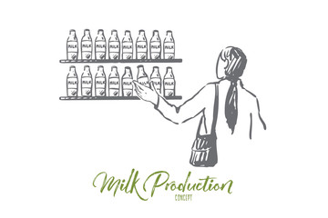 Milk, shop, customer, store bottle concept. Hand drawn isolated vector.