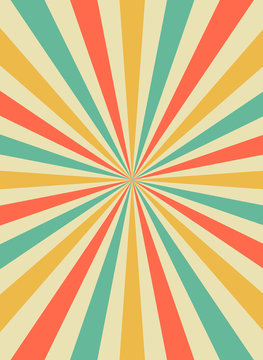 Sunrise sun rays in retro starburst style. Background template for circus posters. flat vector
